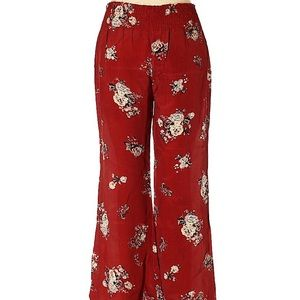 Free People Boho Red Floral Flowy Pants Medium